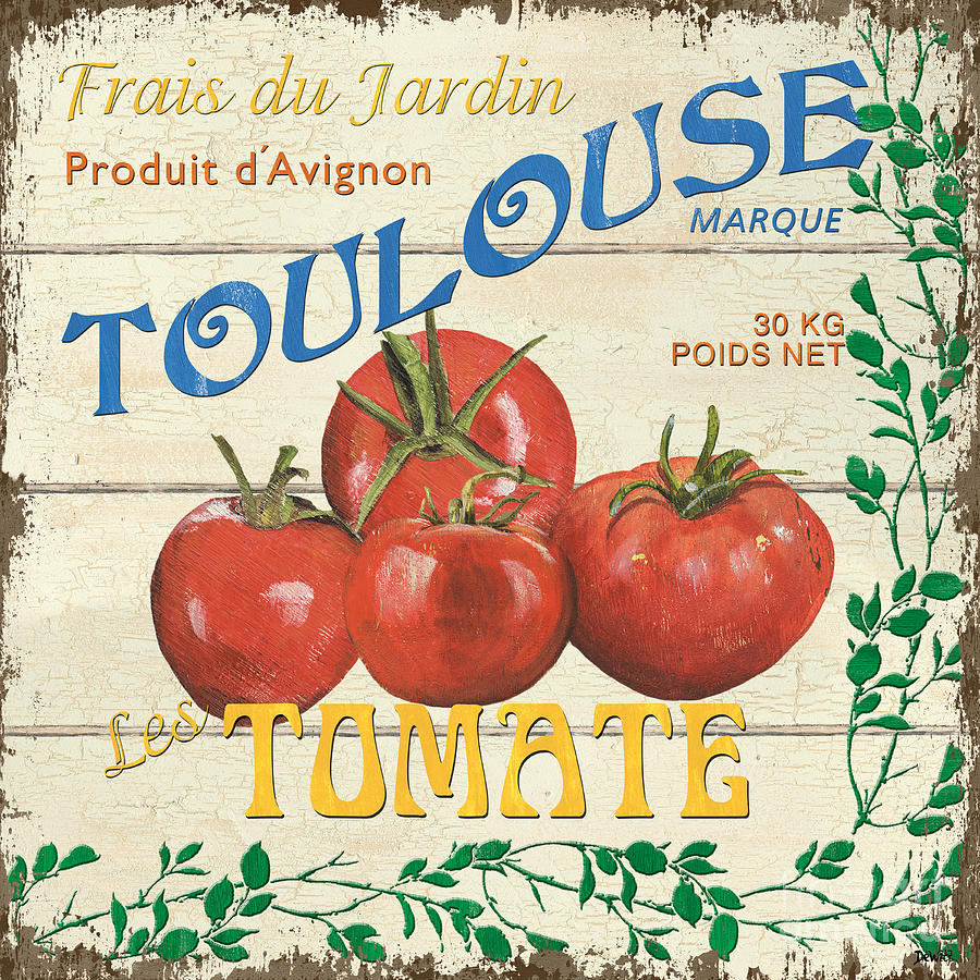 Tomatoes Painting - French Veggie Sign 3 by Debbie DeWitt