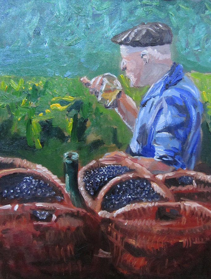 Landscape Painting - French Vineyard Worker by Kendal Greer