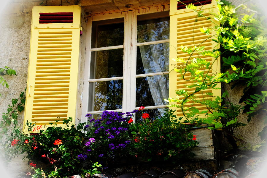 Window Photograph - French Window Dressing by Jacqueline M Lewis