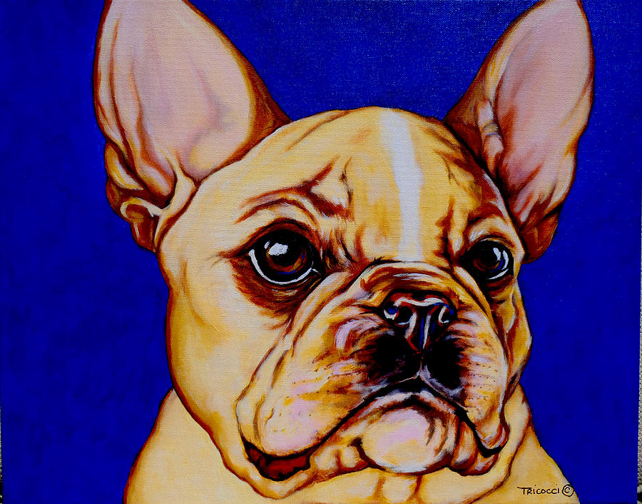 Dog Painting - Frenchie by Lina Tricocci