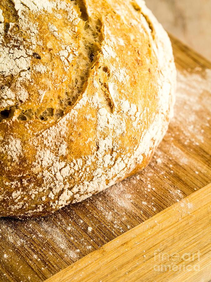 Bread Photograph - Fresh Baked Loaf Of Artisan Bread by Edward Fielding
