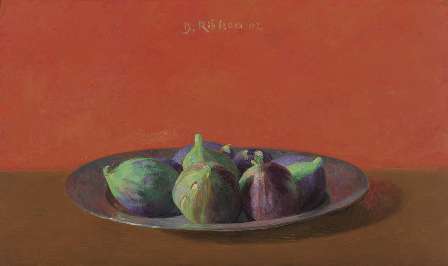 Fruit Painting - Fresh Figs On An Iron Plate by Ben Rikken