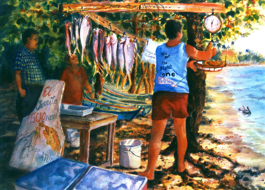 Watercolor Paintings Painting - Fresh Fish by Estela Robles