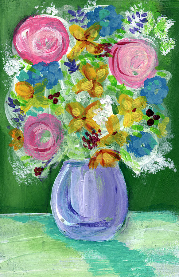 Flowers Painting - Fresh Flowers- Painting by Linda Woods
