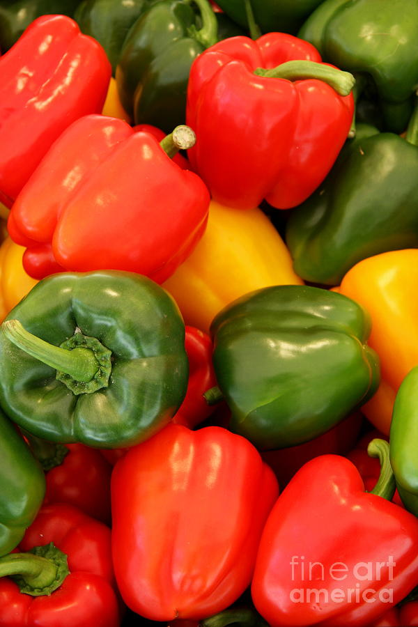 Red Bell Pepper Photograph - Fresh From The Market - Sweet Peper Mix by Christiane Schulze Art And Photography