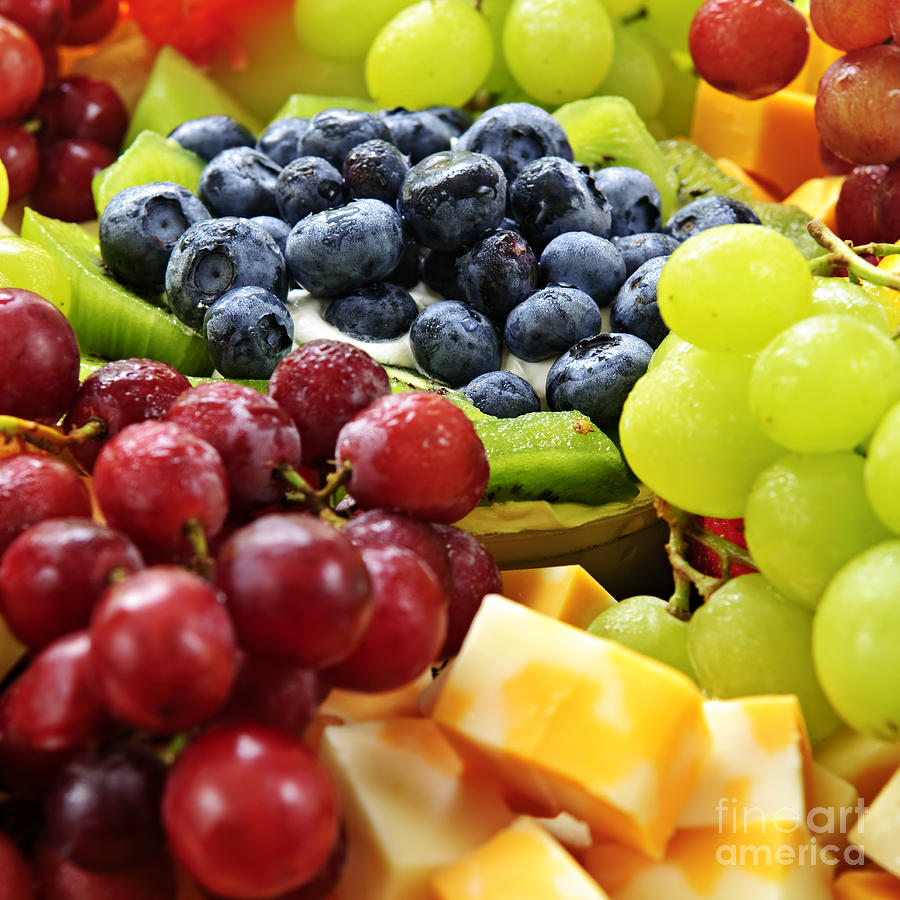 Fruit Photograph - Fresh Fruits And Cheese by Elena Elisseeva