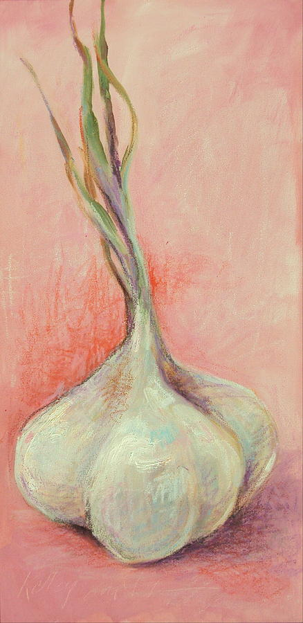 Garlic Painting - Fresh Garlic by Kelley Smith