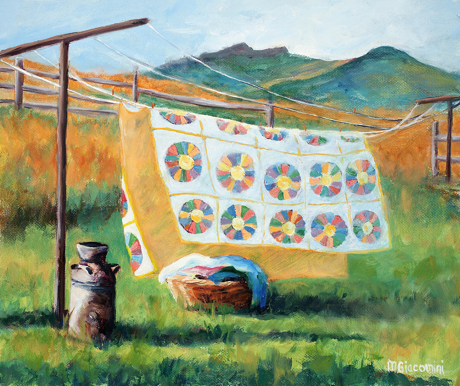 Clothesline Painting - Fresh by Mary Giacomini