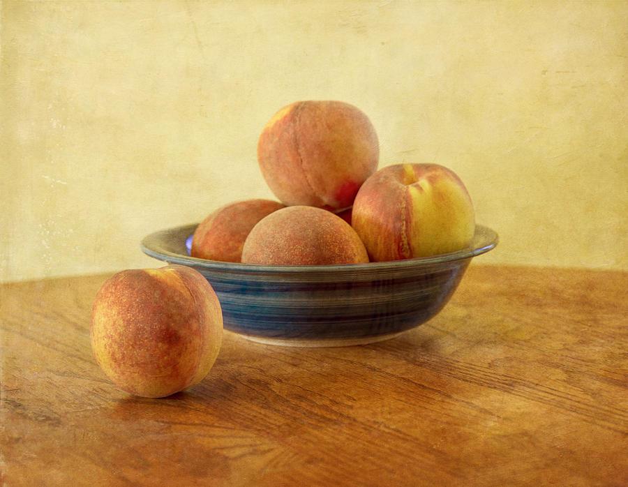 Peach Photograph - Fresh Peaches by Kim Hojnacki