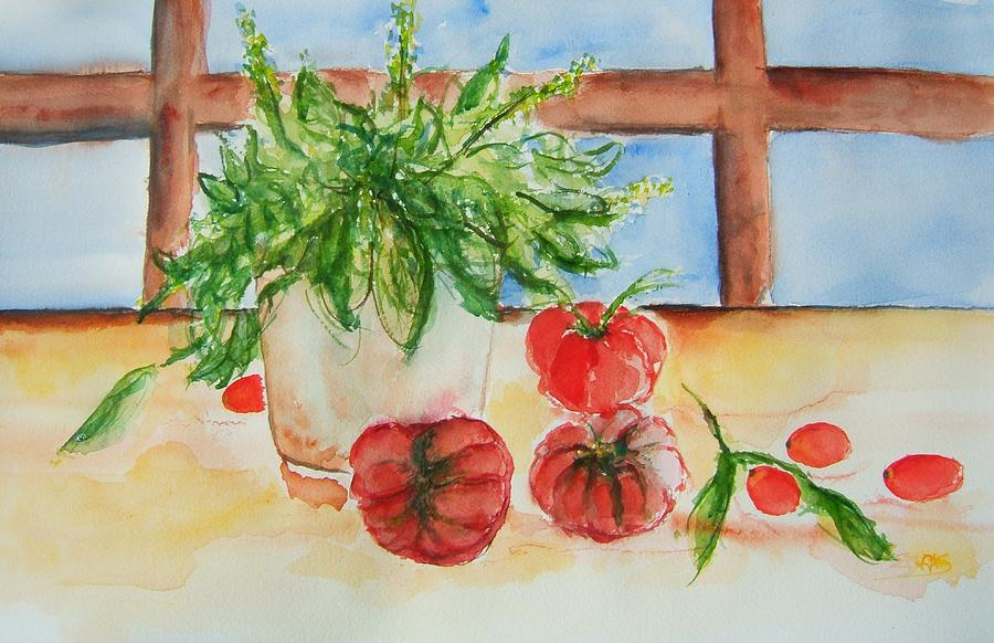 Tomato Painting - Fresh Picked Tomatoes And Basil by Elaine Duras
