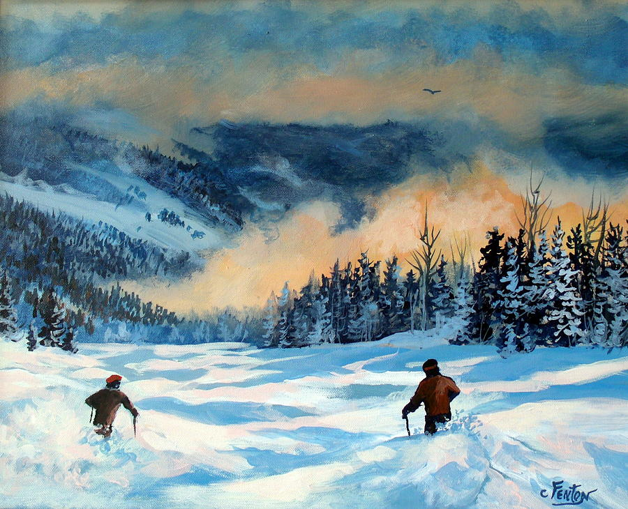 Skiing Painting - Fresh Powder by W  Scott Fenton