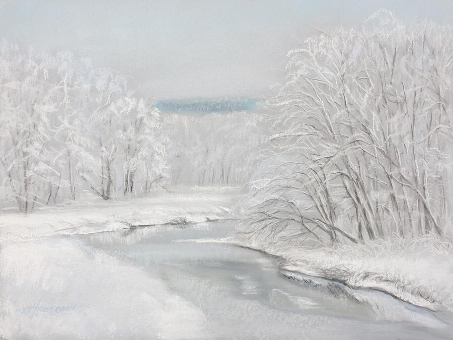 Landscape Pastel - Fresh Snow at Catfish Corner by Sherri Anderson