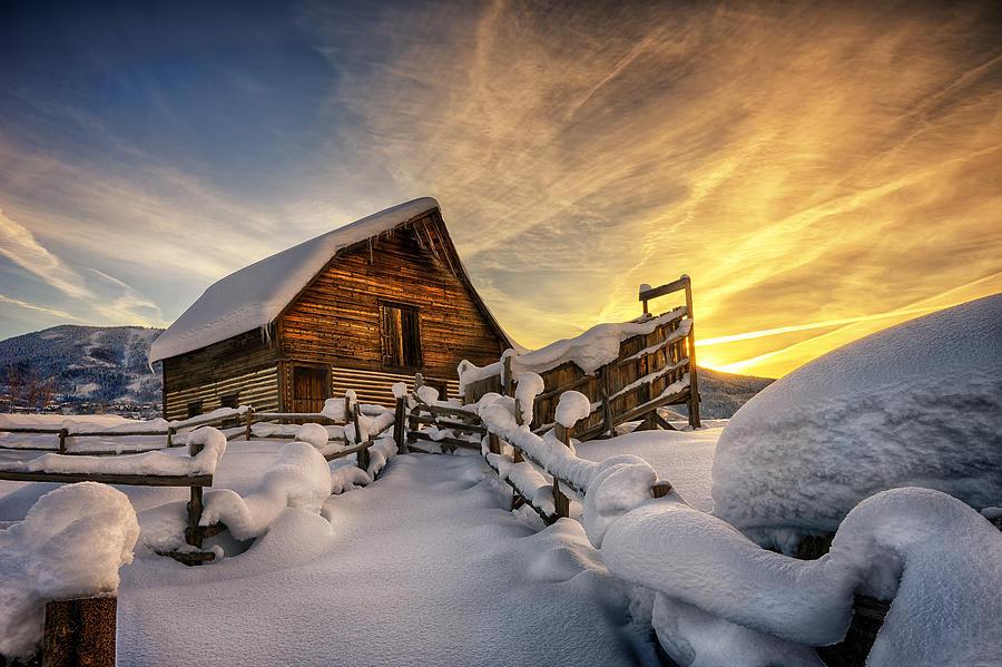 Fresh Snow at the Barn by David Soldano