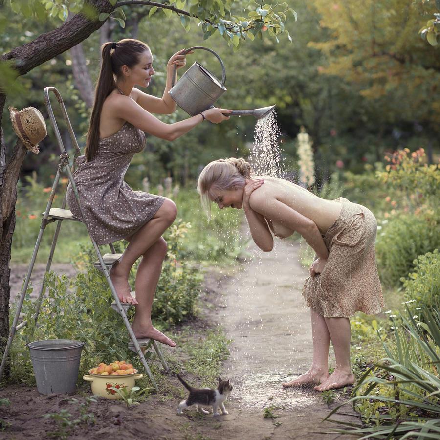 Fine Art Nude Photograph - Fresh Summer Shower by David Dubnitskiy
