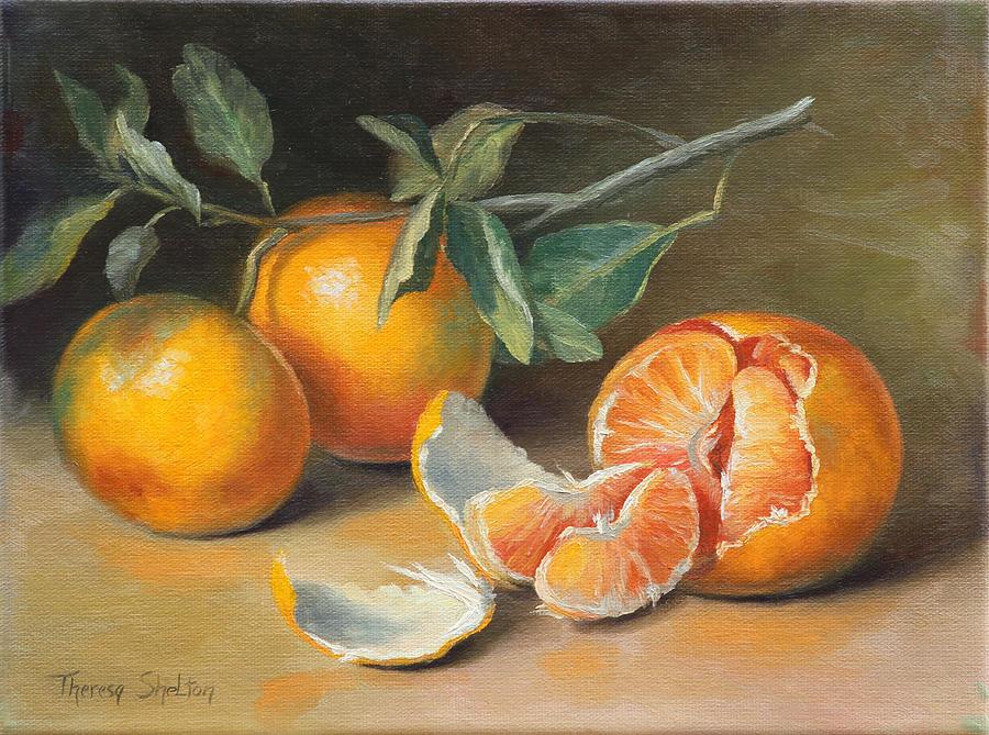Tangerines Painting - Fresh Tangerine Slices by Theresa Shelton