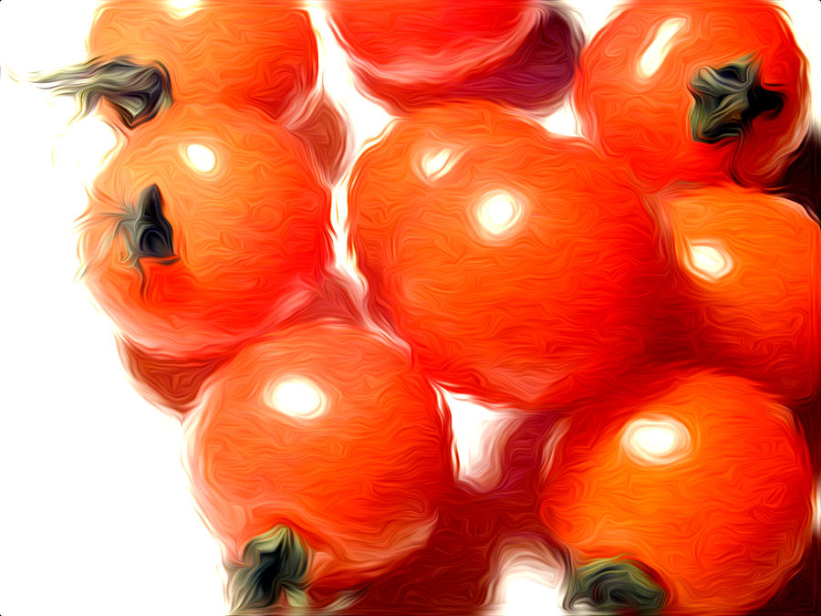 Still-life Paintings Pyrography - Fresh Tomatos by Stefan Petrovici