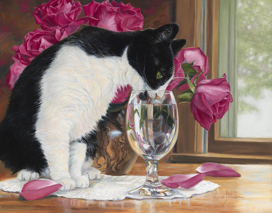 Cat Painting - Fresh Water by Lucie Bilodeau