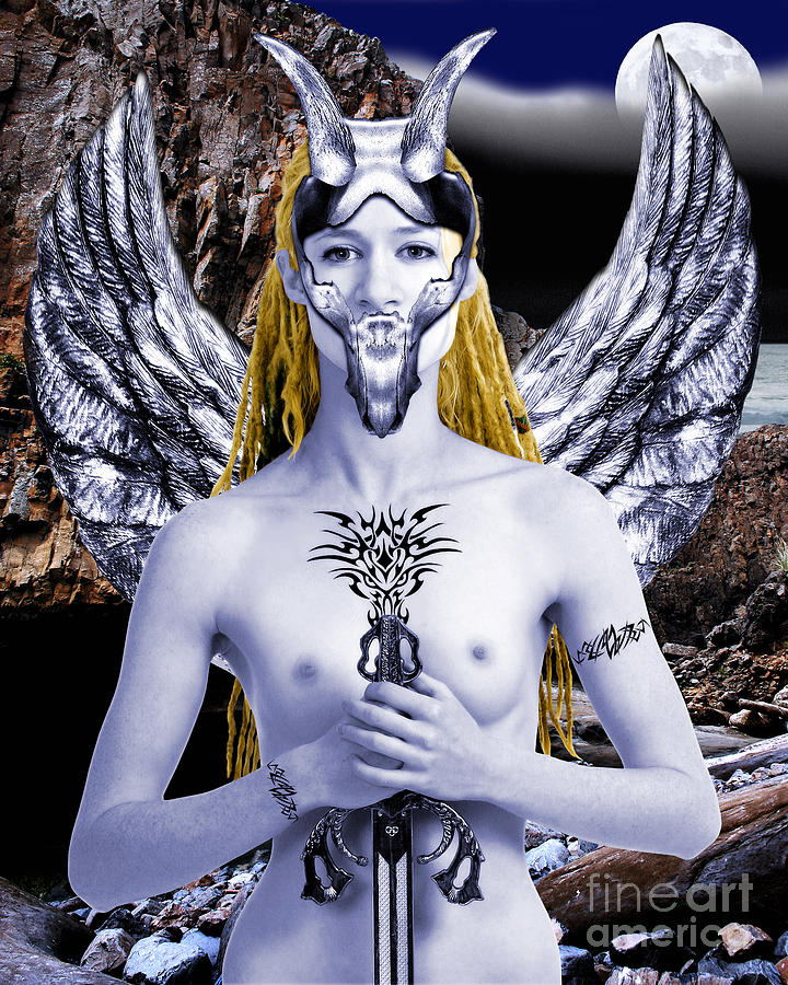 Female Warrior Digital Art - Freya Viking Warrior by Keith Dillon