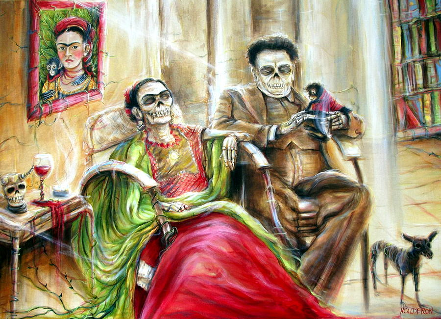 Frida and diego with pet monkey painting by heather calderon for Diego rivera day of the dead mural
