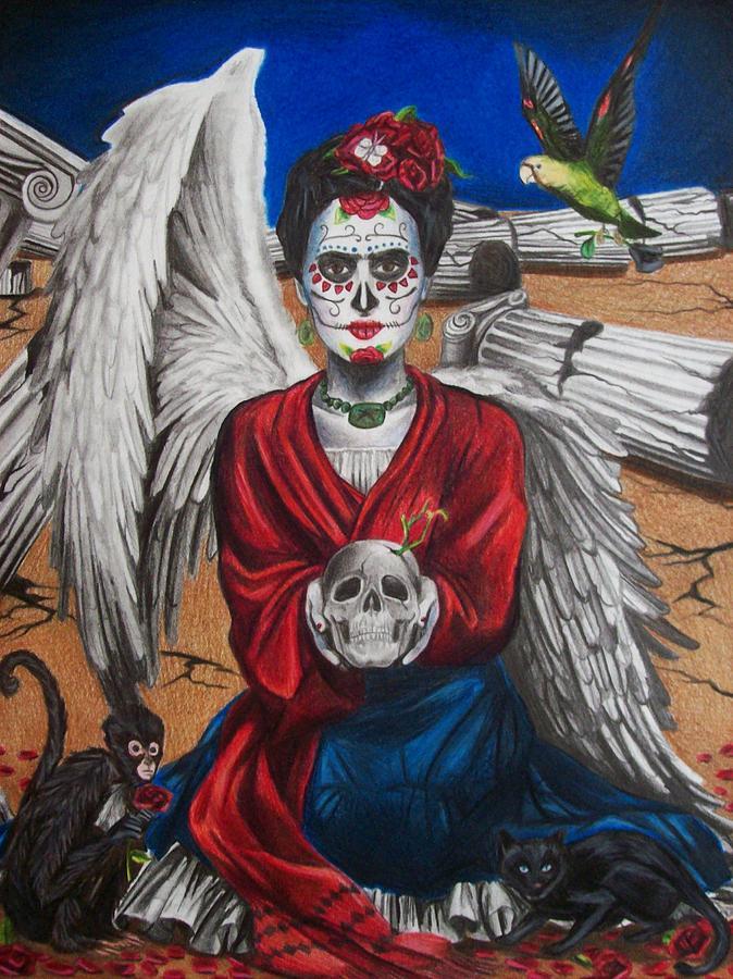 Skull Drawing - Frida Kahlo by Amber Stanford