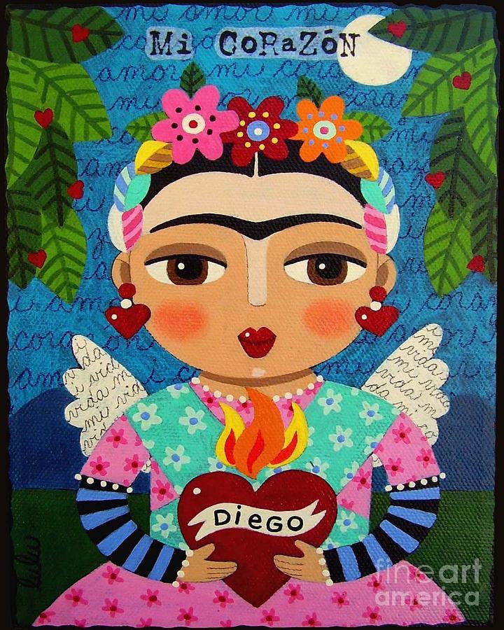 Frida Painting - Frida Kahlo Angel And Flaming Heart by LuLu Mypinkturtle