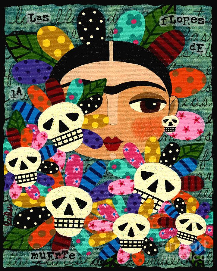 frida kahlo day of the dead flowers painting by lulu mypinkturtle