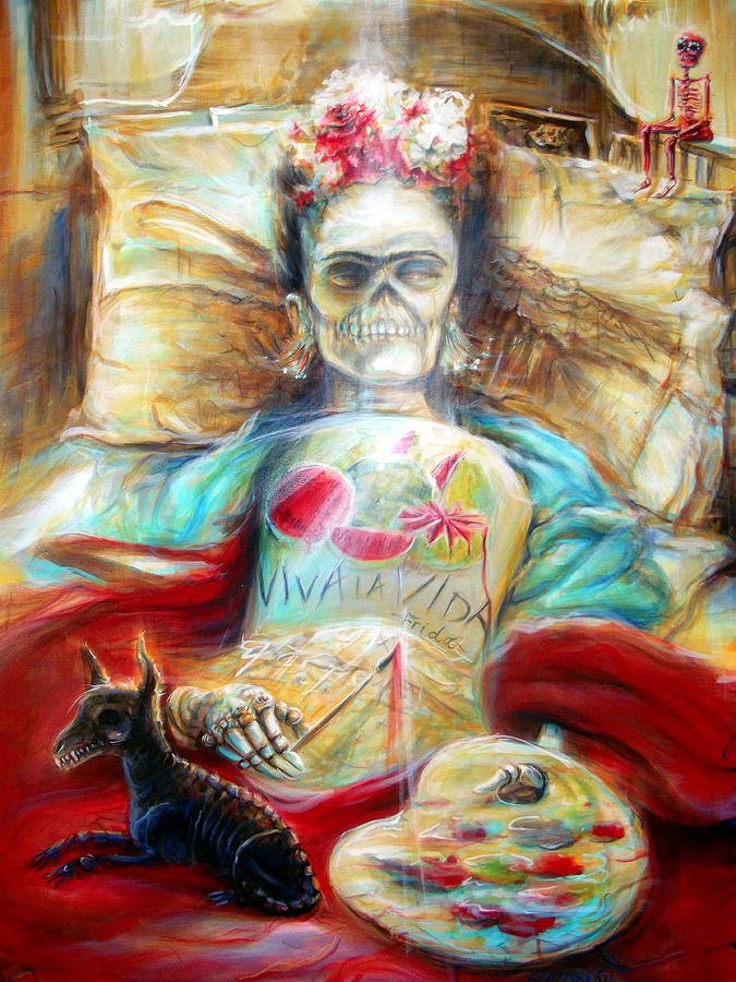 Day Of The Dead Painting - Frida Viva La Vida by Heather Calderon