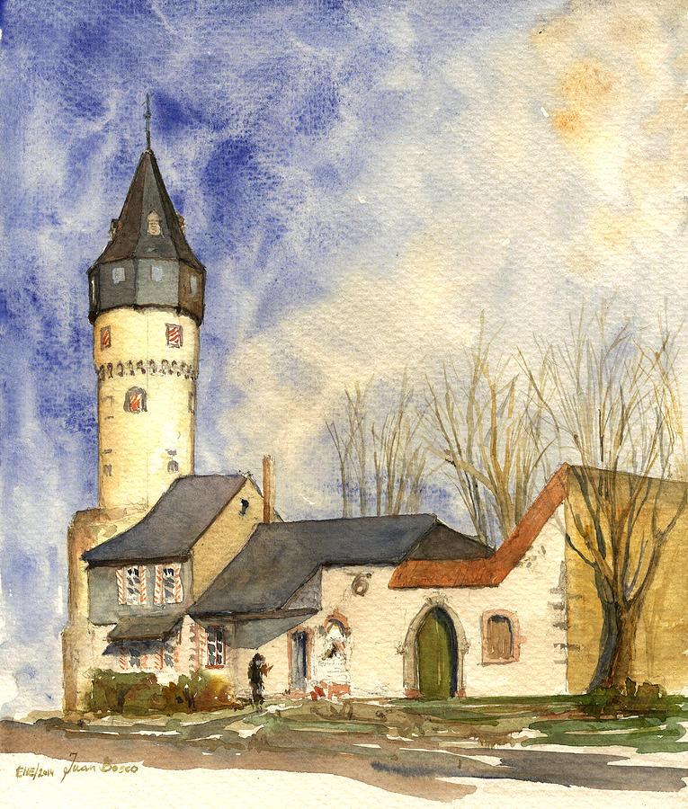 Warte Painting - Friedberger Warte Frankfurt by Juan  Bosco