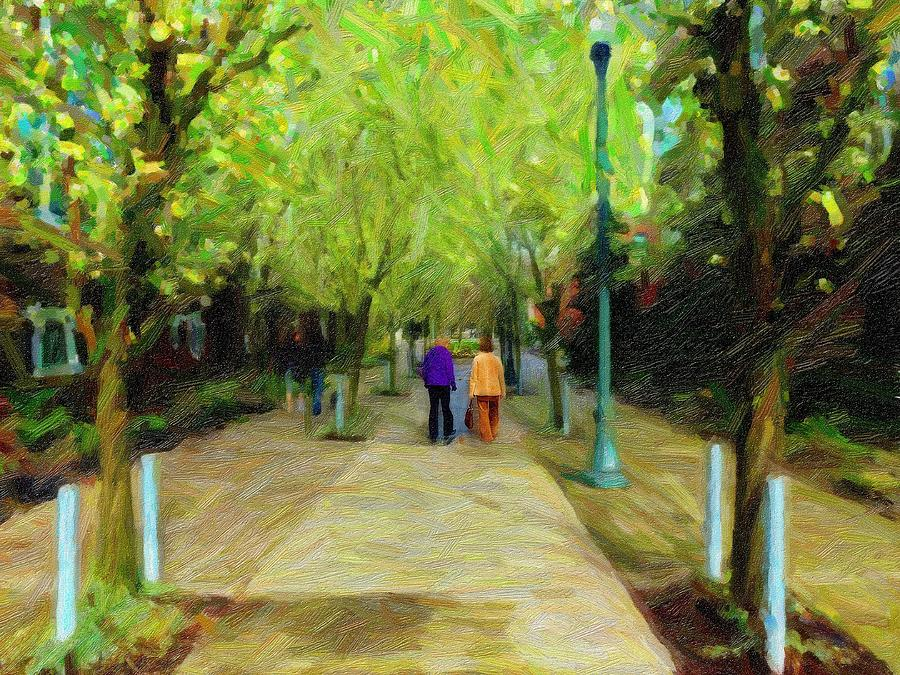 Walk Digital Art - Friends Again by Cary Shapiro