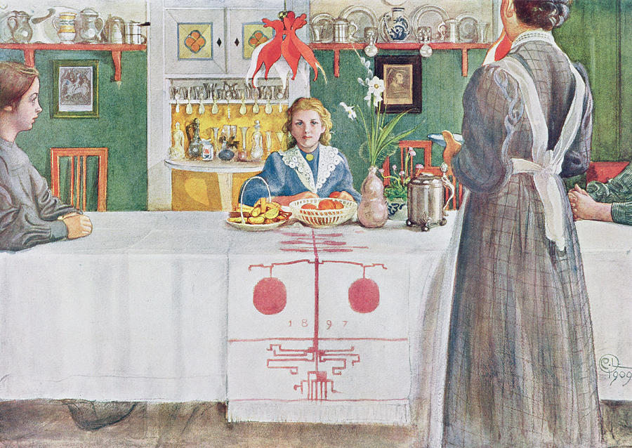 Illustration Drawing - Friends From The Town - Dining Room by Carl Larsson