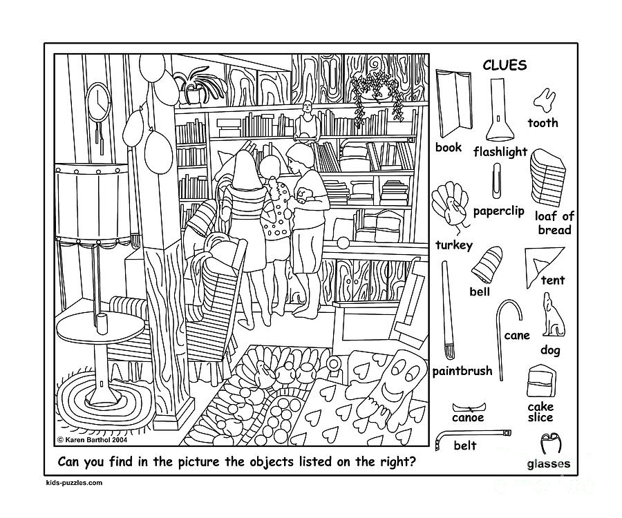 Friends hidden objects puzzle digital art by karen barthol for Coloring pages for adults with hidden objects