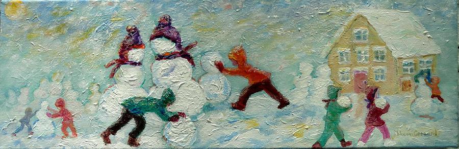 Winter Scene Painting - Friends Making Friends by Naomi Gerrard