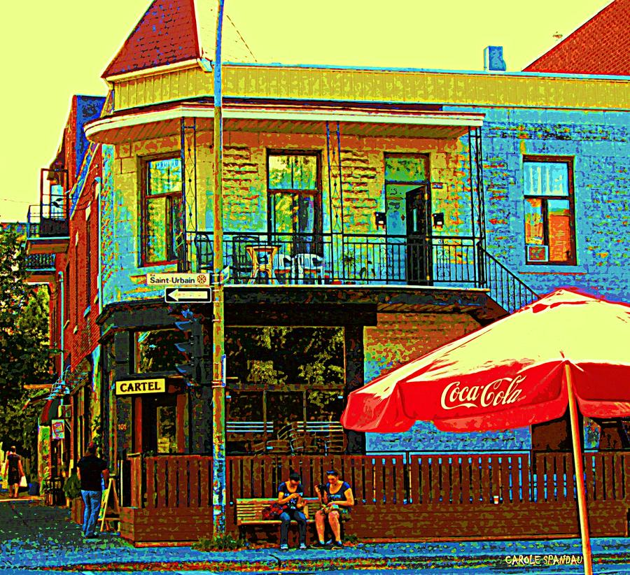 Montreal Painting - Friends On The Bench At Cartel Street Food Mexican Restaurant Rue Clark Art Of Montreal City Scene by Carole Spandau