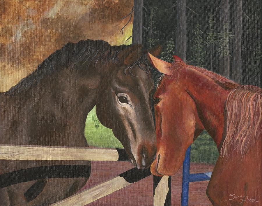 Horses Painting - Friends by Sandy Jasper