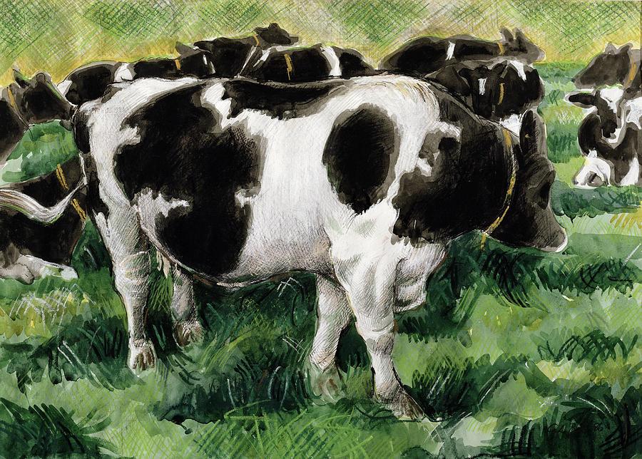 Herd Painting - Friesian Cows by Gareth Lloyd Ball