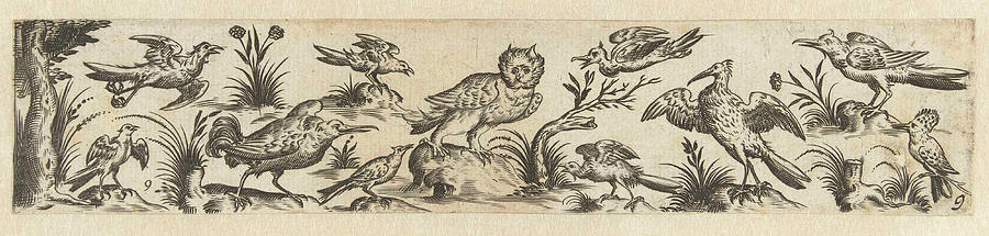 Birds Drawing - Frieze Featuring Eleven Birds, At The Left End Is A Tree by Hans Collaert (i) And Claes Jansz. Visscher (ii)