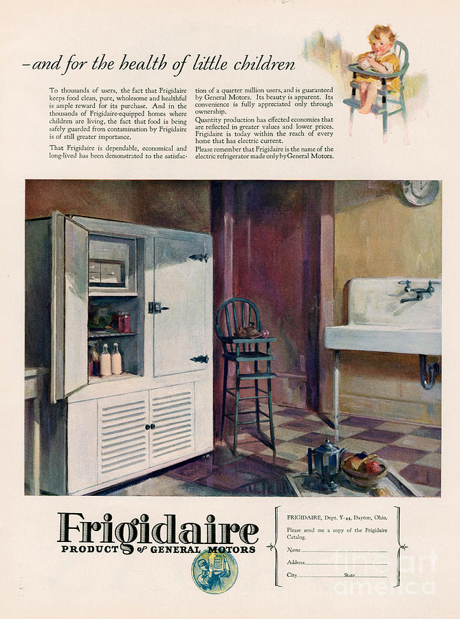 Adverts Drawing - Frigidaire 1926 1920s Usa Cc Fridges by The Advertising Archives