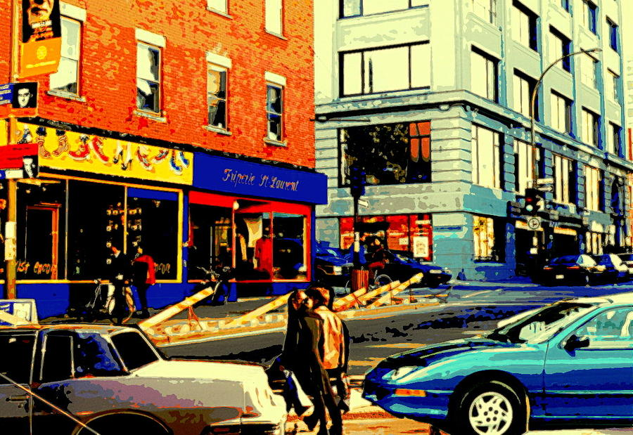 Montreal Painting - Friperie St.laurent Clothing Variety Dress Shop Downtown Corner Store City Scene Montreal Art by Carole Spandau