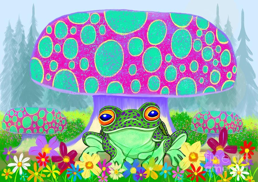 Frog Mushrooms And Flowers Digital Art