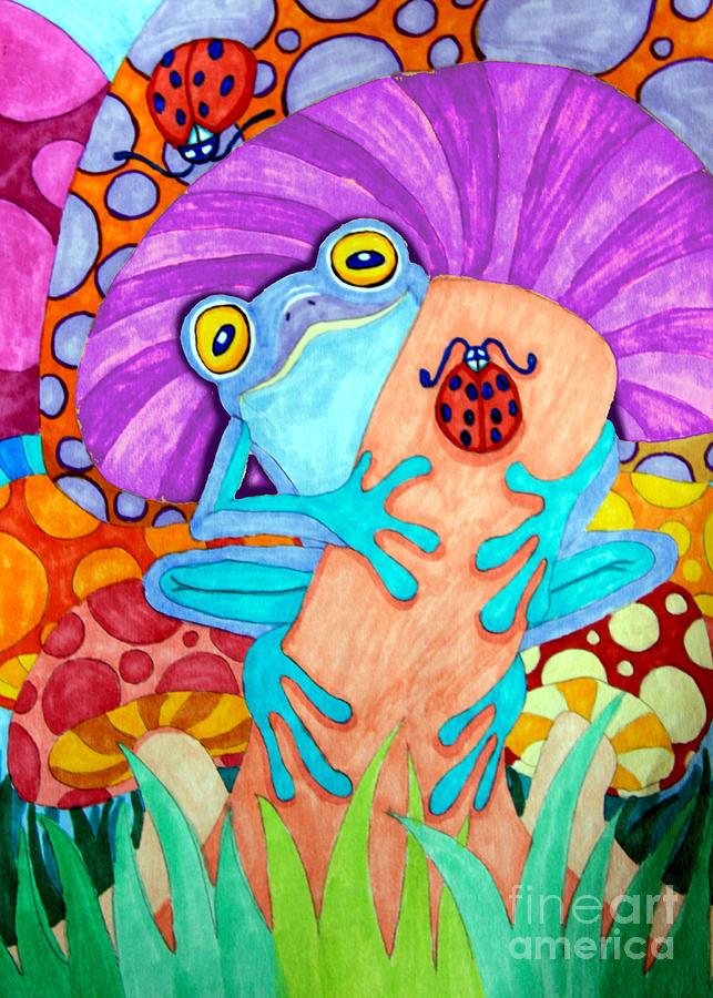 Frog Drawing - Frog Under A Mushroom by Nick Gustafson