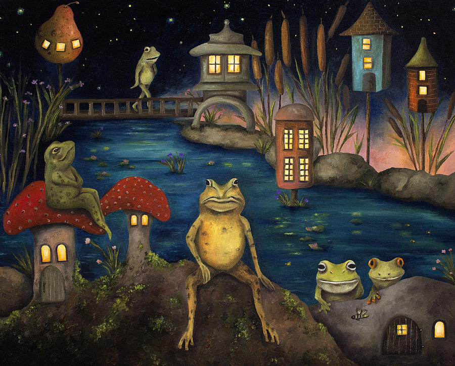Frog Painting - Frogland by Leah Saulnier The Painting Maniac