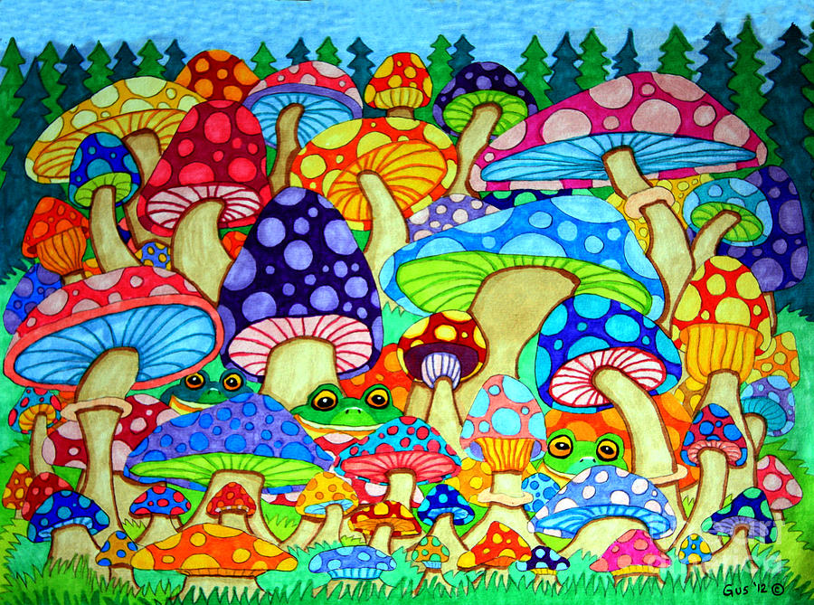 Frogs And Magic Mushrooms Drawing