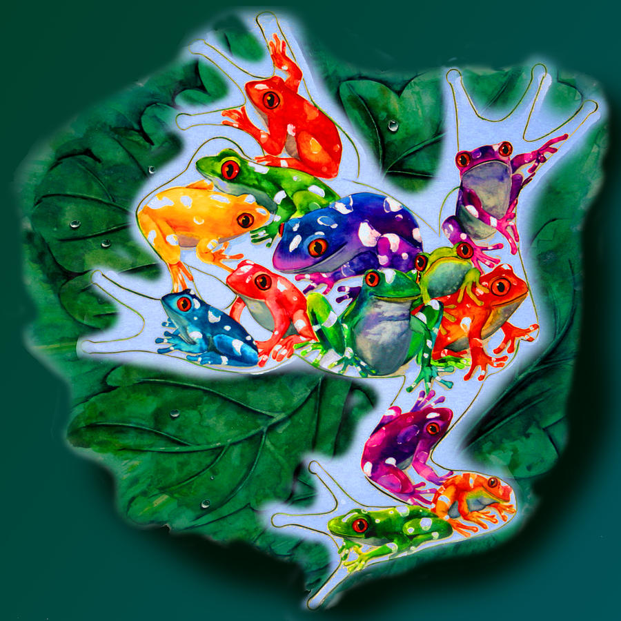 Frog Painting - Frogs by Sherry Shipley