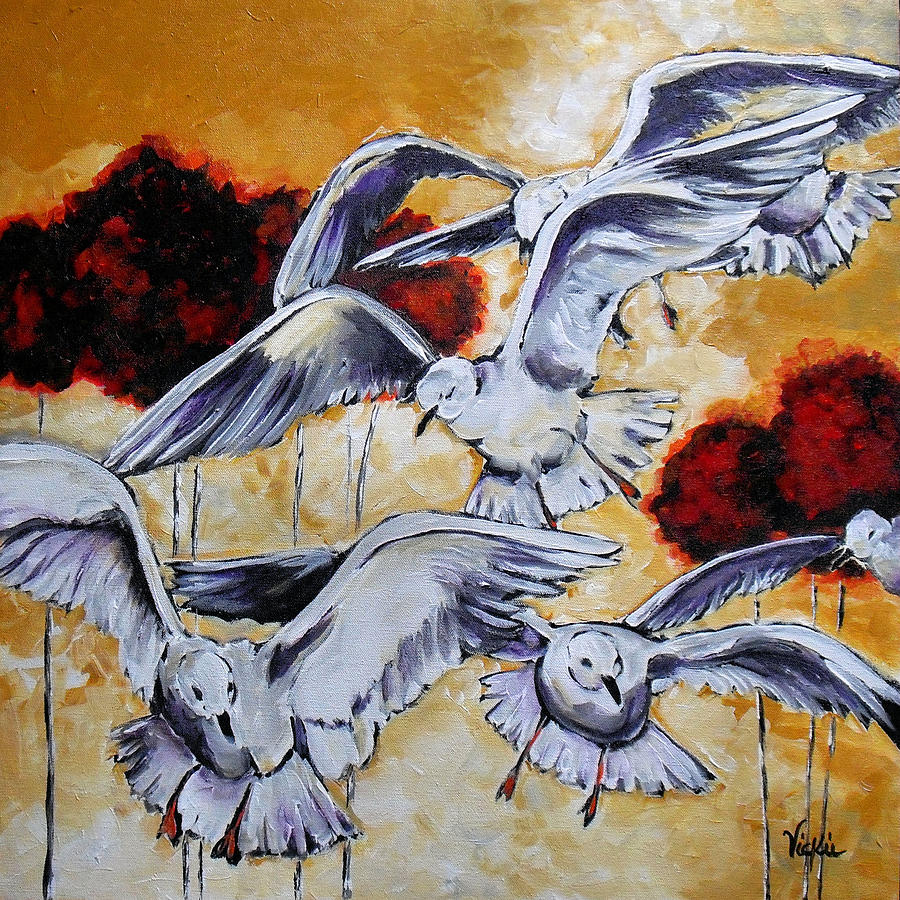 Seagulls Painting - Frolic by Vickie Warner