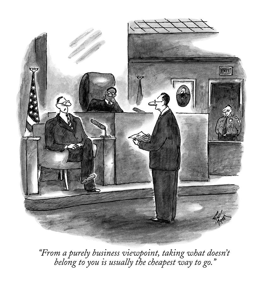 From A Purely Business Viewpoint Drawing by Frank Cotham