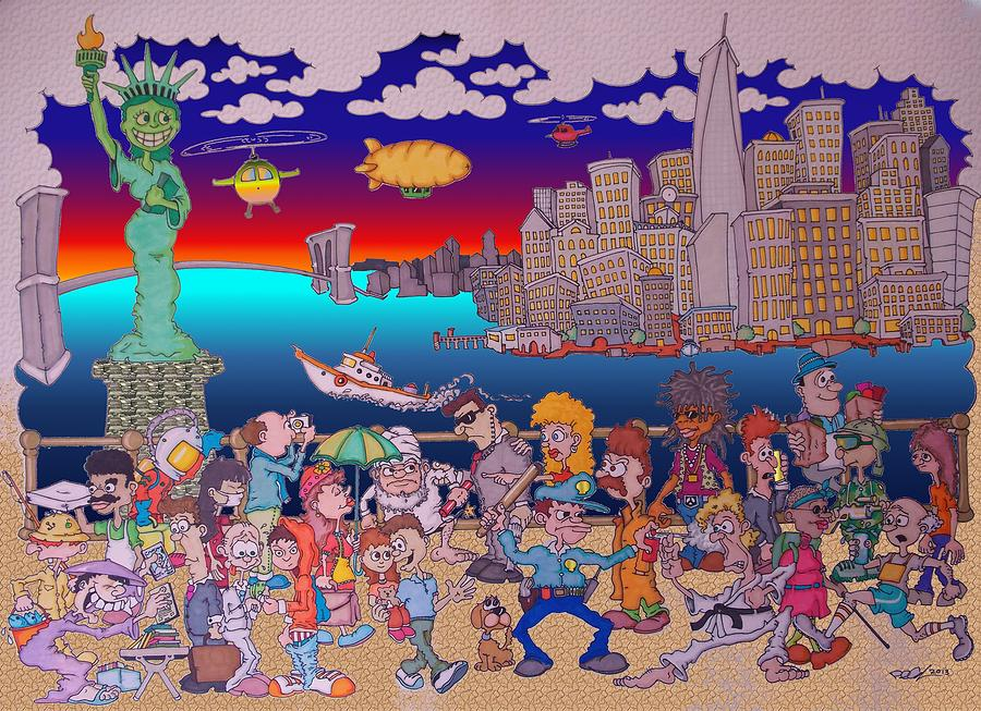 New York Drawing - From Brooklyn With Love by Paul Calabrese