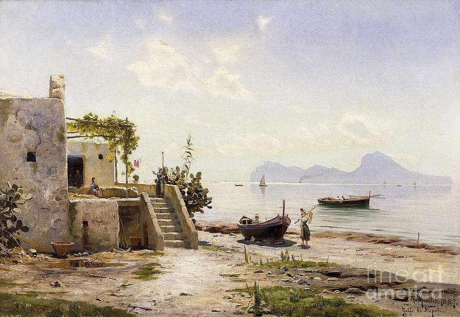 1880s Painting - From Sorrento Towards Capri by Peder Monsted