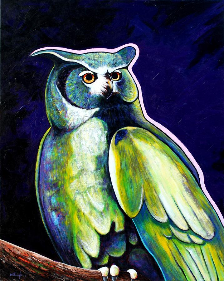 Owl Painting - From The Shadows by Joe  Triano