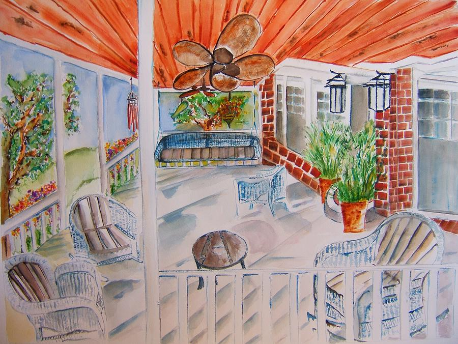Porch Painting - Front Porch Sitting by Elaine Duras