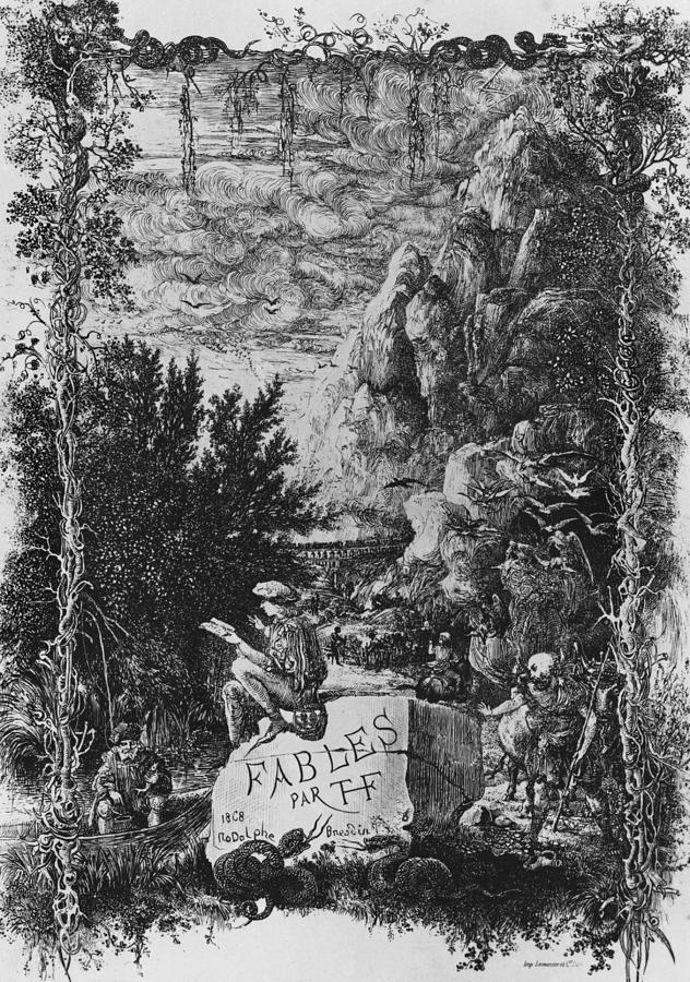 Rodolphe Drawing - Frontispiece Illustration From Fables By Hippolyte De Thierry-faletans by Rodolphe Bresdin